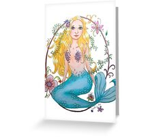 Mermaid with flowers Greeting Card