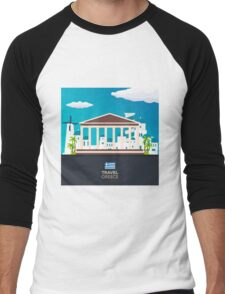 Travel to Greece skyline Men's Baseball ¾ T-Shirt