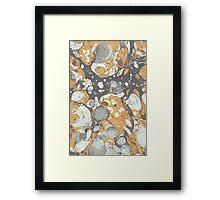 marbled wave grey orange Framed Print