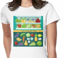 Fruits and Vegetables Market. Healthy Eating Concept Womens Fitted T-Shirt