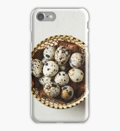 Food background with quail eggs iPhone Case/Skin