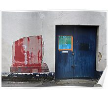 Blue Door / Red Wall Poster