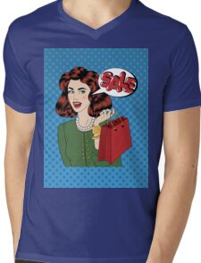 Pop art Style Sale banner. Vintage Girl with Shopping Bags in Comics Style Mens V-Neck T-Shirt