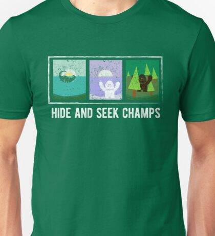 Hide and Seek Champions Funny Bigfoot, Sasquatch, Yeti, Lochness Sea Monster, Nessie Funny Graphic Tee Shirt Unisex T-Shirt