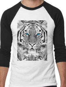 Tiger Portrait Black and White in Graphic Etching Style Men's Baseball ¾ T-Shirt
