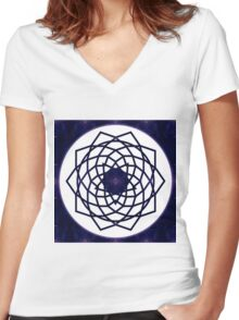 Pure Bliss Abstract Chakra Art Women's Fitted V-Neck T-Shirt