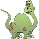 Green Brontosaurus Cartoon by Graphxpro