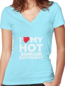 I Love My Hot Bahraini Boyfriend Women's Fitted V-Neck T-Shirt