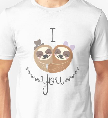 Cute Valentine Sloths Love Hat and Bow Unisex T-Shirt