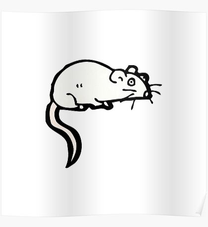 cartoon white mouse Poster