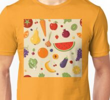 Healthy Food Seamless Pattern with Fruits and Vegetables Unisex T-Shirt