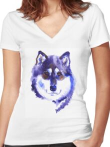 Watercolor Alaskan malamute Women's Fitted V-Neck T-Shirt