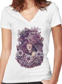 Crow T-shirt femme moulant col V