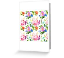 Pink and Blue Berry Watercolor Flowers Greeting Card