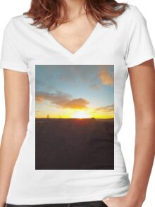 Sunset on a winter moor Women's Fitted V-Neck T-Shirt