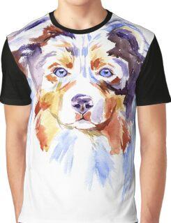 Watercolor Australian shepherd Graphic T-Shirt