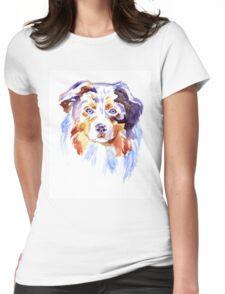 Watercolor Australian shepherd Womens Fitted T-Shirt
