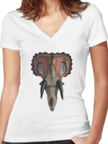 Triceratops head Women's Fitted V-Neck T-Shirt