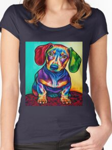 dog dogs art full color Women's Fitted Scoop T-Shirt
