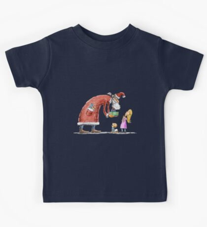 Funny santa claus gift giving illustration Kids Tee