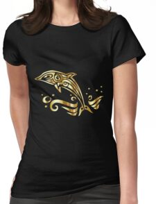 Golden chromatic dolphin tribal on black Womens Fitted T-Shirt