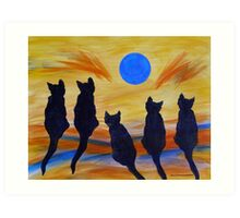 Five Meows See the Wild Blue Art Print