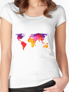 Multicolour watercolour map of the world Women's Fitted Scoop T-Shirt