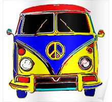 Peace Bus - Red, Yellow, and Blue Poster