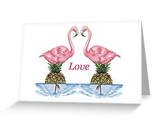 Flamingo love with a pineapple sunset. Greeting Card
