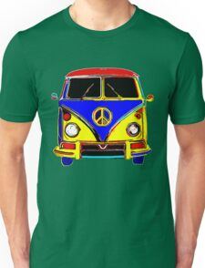 Peace Bus - Red, Yellow, and Blue Unisex T-Shirt
