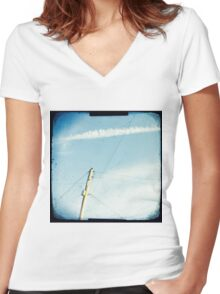 Crossed wires Women's Fitted V-Neck T-Shirt