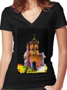 Iglesia Virgen De Bronce, Parroquia de Nuestra Senora del Carmen II Women's Fitted V-Neck T-Shirt