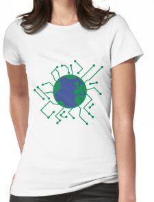 Earth Planet Home Blue Sphere Electric Electronic- network engineer shirt Womens Fitted T-Shirt