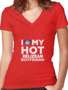 I Love My Hot Belizean Boyfriend Women's Fitted V-Neck T-Shirt