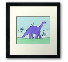 Purple Diplodocus Dinosaur Framed Print