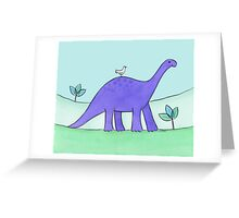 Purple Diplodocus Dinosaur Greeting Card