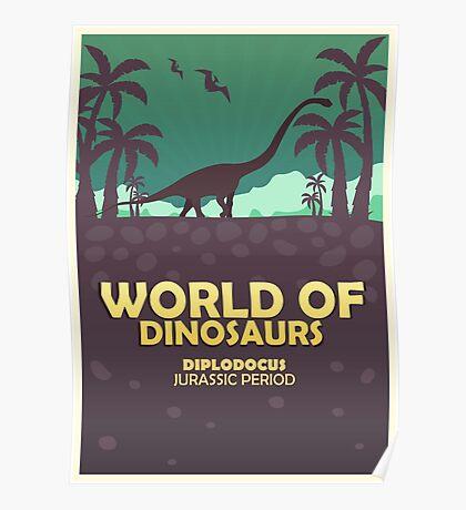 World of dinosaurs. Prehistoric world. Diplodocus Poster