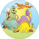 Dinosaur Friends Cartoon by Graphxpro