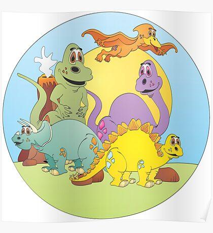 Dinosaur Friends Cartoon Poster