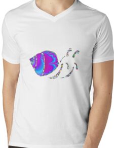 Psychedelic Fractal Teal and Purple Snail Shell Mens V-Neck T-Shirt
