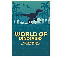 World of dinosaurs. Prehistoric world. Velociraptor Photographic Print