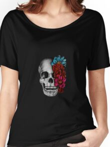 Skull with flowers Women's Relaxed Fit T-Shirt