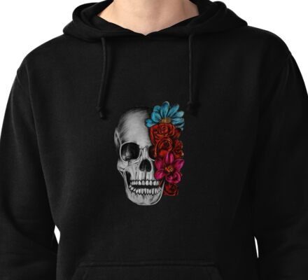 Skull with flowers Pullover Hoodie