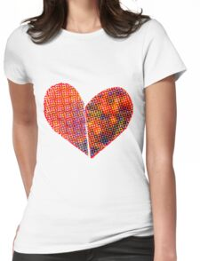 Screened heart Womens Fitted T-Shirt