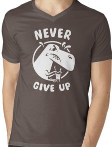 Never Give Up Mens V-Neck T-Shirt
