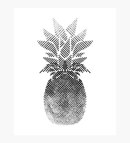 Black and White Pineapple Artwork, Digital Drawing , 2017 Photographic Print