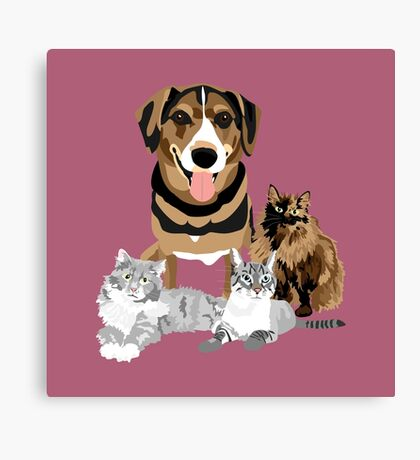 Alfred and Cats Canvas Print