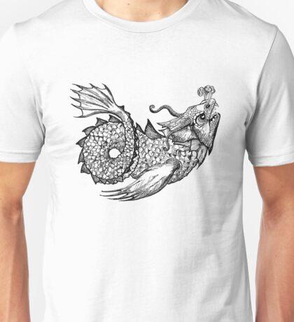 Sea Monster in Black Unisex T-Shirt