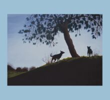 Dogs in park snow landscape painting realist art   Baby Tee