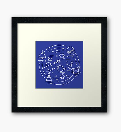 Vector illustration kids elements arranged in a circle: whirligig, ball, puzzle, rocking horse,  bucket, pyramid and other. Framed Print